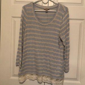 Loft Blue & Cream Striped Sweater w/ Lace Trim